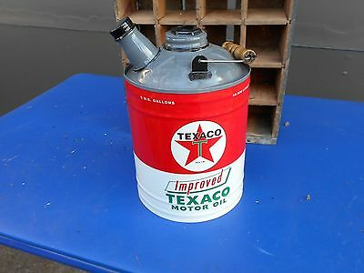 Texaco Gasoline Metal Gas Can Motor Oil Can Garage Man Cave NEW!