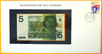 Netherlands 1973 - 5 Gulden - Uncirculated Banknote enclosed in stamped envelope