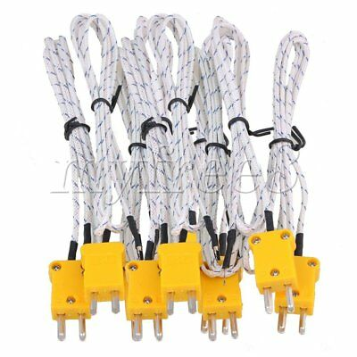 BQLZR 10Pcs 1 Meter Thermocouple K Type Cable Probe Sensors with Mini Connector