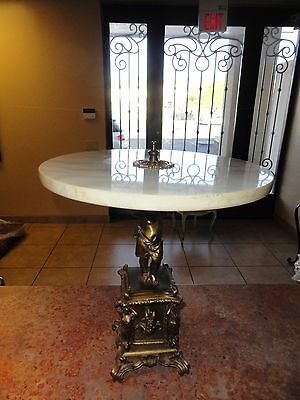 Charming Vintage Hollywood Regency Marble Top Cupid Table