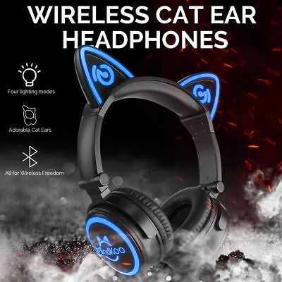 Bluetooth Foldable Cat Ear Headset Wireless Aux LED USB Volume Control Headphone