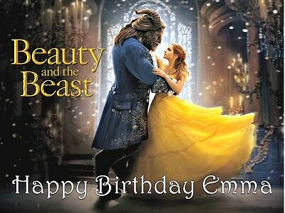 Beauty and the Beast Movie Edible Cake Topper Wafer Card / Icing Personalised
