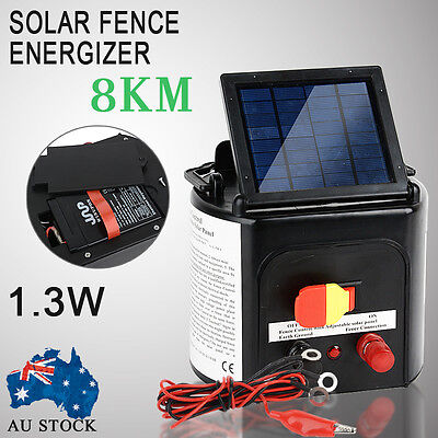 8km Solar Electric Fence Energizer Energiser Power Charger 0.3J Farm