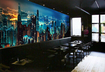 3D City Night Light Wall Paper wall Print Decal Wall Deco Indoor wall Mural