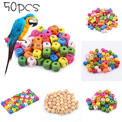 50PCS DIY Durable Colorful Fish / Letters Wooden Bead Parrot Bird Foot Toy Parts