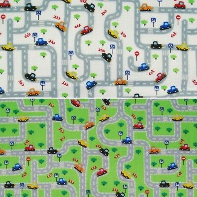 Kids Toy Car Busy Road Play Mat Print Polycotton Fabric