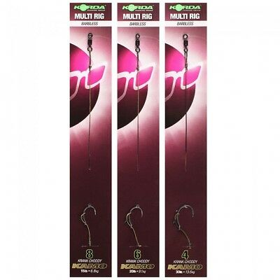 Korda Ready Tied Multi & Hinge Rigs - Barbed OR Barbless * ALL SIZES *
