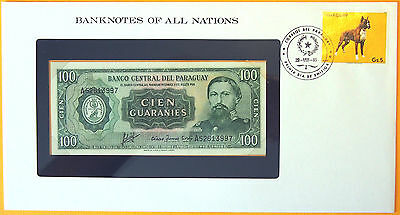 Paraguay 1982 - 100 Guaranies Uncirculated Banknote enclosed in stamped envelope
