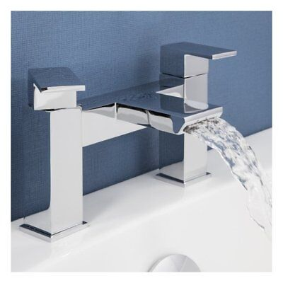 Modern Bathroom Chrome Square Lever Waterfall Spout Bath Mixer Tap