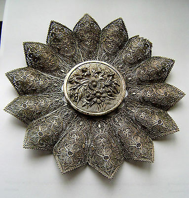 Antique 19th C Solid Silver Filigree Shaped Flower Central Cast Silver Center