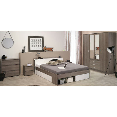schlafzimmer set nienburg bett schrank nako wei grau metallic und glas basalt eur 799 95. Black Bedroom Furniture Sets. Home Design Ideas