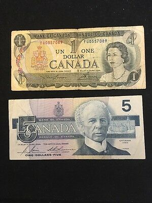 Lot Of 2 Canadian Banknotes Bank Of Canada 1 & 5 Dollars 1973 & 1986 Banknote