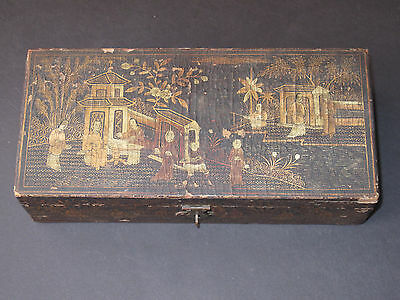 """Chinese Antique Black Lacquer Wood Box Hand Painted w/ Gold Hinged 9"""" Long"""