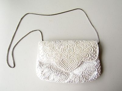 White Beaded Purse Shoulder Bag Purse Silver Toned Chain Bridal Wedding Dyeables