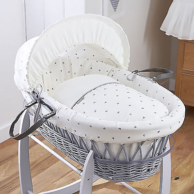New 4Baby Forever Hearts Unisex Padded Grey Wicker Baby Moses Basket & Mattress