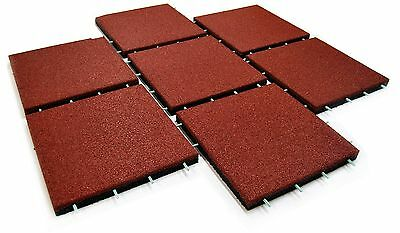 Rubber Safety Mats Playground Area Flooring Fall Protection Garden Red 50x50cm