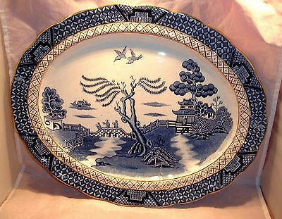 Vintage Wilton Ware Meat Platter Ye Olde Chinese Willow Blue/White 1923 - 1934
