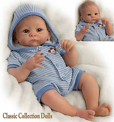 "Ashton Drake ""BENJAMIN"" LIFELIKE WEIGHTED NEWBORN BABY DOLL-NEW- IN STOCK NOW!"