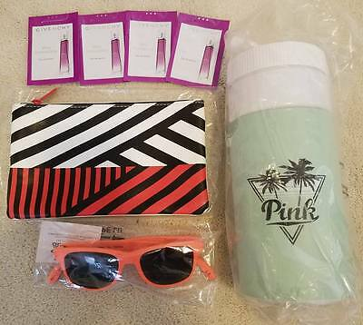 Lot Of 7 New~Victoria's Secret Water Bottle~Sunglasses~Sephora Pouch & Givenchy