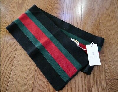 NWT 100% AUTH Gucci 269516 kids wool scarf with green/red/green web $220
