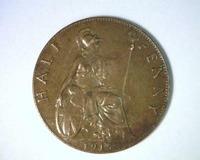 Great Britain 1915 Half Penny Km809  About Uncirculated   ~ 4084