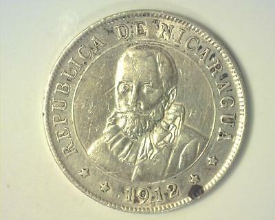 Nicaragua 1912-H Silver Twenty-Five Centavos .1607 Asw Km14 Extremely Fine ~122