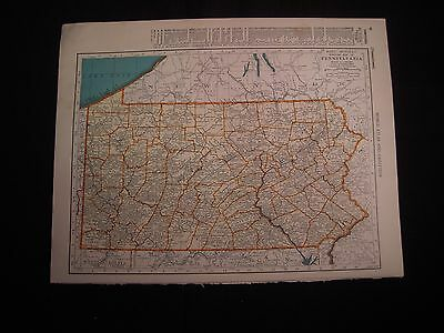 Vintage 1940 Color Map of Pennsylvania or Oregon from Colliers World Atlas