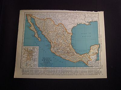 Vintage 1940 Color Map of Mexico or Central America from Colliers World Atlas