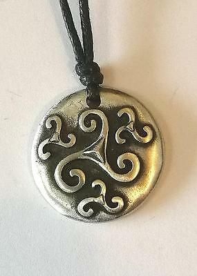 Celtic The Four Spirals Pewter Pendant on Cord.