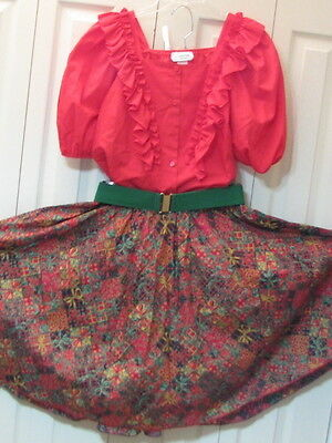"""1579 Red Blouse with Red, Green & Gold Christmas Print Skirt & Belt, Waist 34"""""""