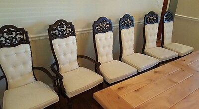French Country Vintage Dining Chairs Carved Ornate Wood~Set of 6