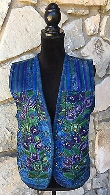Handmade Guatemalan Womens Embroidered Vest Blue Floral Hippie Size M L