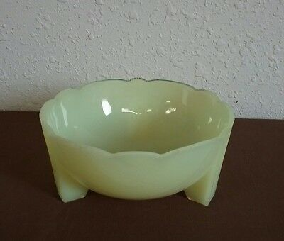 Art Deco Yellow Uranium Vaseline Depression Glass Footed Candy Dish
