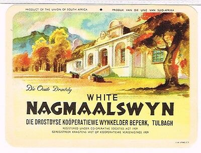 1940s South Africa Tulbagh Nagmaalswyn Wine Label Tavern Trove