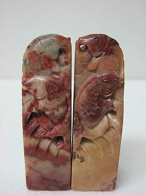 Pair of Old Chinese Soapstone Carved Koi Fish Seal Stamp