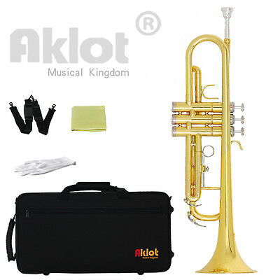 Aklot Intermediate Bb Trumpet Marching Band Horn Gold with Original Silver Plate