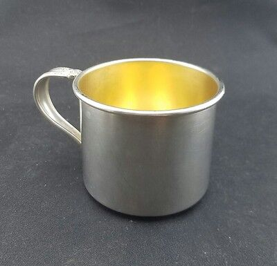 Vintage Sterling Silver Gold Lined Baby Cup NO MONOGRAM 55g