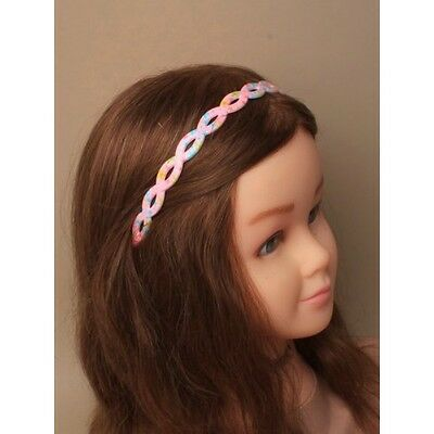 NEW Daisy Pink floral print open weave plastic aliceband headband kids fashion