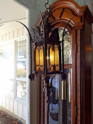 Antique Hand Made Wrought Iron Hanging Medieval Gothic Lantern Light Fixture WOW