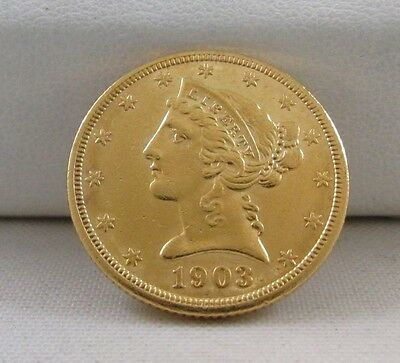 1903-S Liberty/cornet Head Half Eagle $5 Gold Coin - Strong Detail On Both Sides
