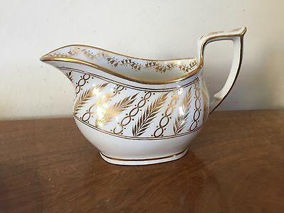 Antique 19th c. English New Hall Porcelain Creamer Cream Jug Pitcher White Gold