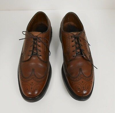 Vtg Florsheim Imperial Wingtip V Cleat 5 Nail Brown Leather Shoes Size 9 C