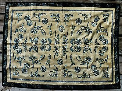 Antique Chinese Silk Embroidered Panel Embroidery 18th Century ?