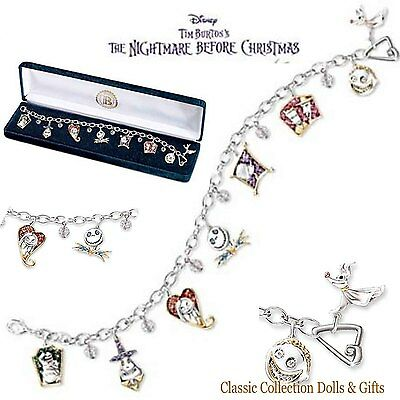 Bradford Exchange- Disney's Nightmare Before Christmas Charm Bracelet- New !