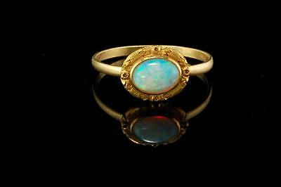 Antique Victorian 18K Gold Australian Light Blue Opal Ring  (021817075)