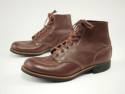 1950s DIAMOND BRAND Vintage Leather Work Lace Boots Mens 4.5 D