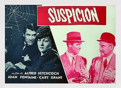 SUSPICION - ALFRED HITCHCOCK THRILLER! - CARY GRANT  1/2 Sheet MOVIE Poster
