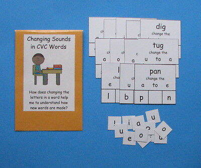 Teacher Made Literacy Center Game Changing Sounds in CVC Words Middle Sounds
