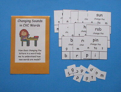 Teacher Made Literacy Center Game Changing Sounds in CVC Words Ending Sounds