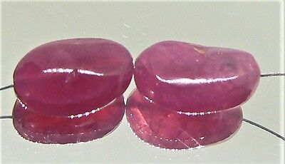 2 RARE NATURAL BUBBLE GUM PINK RED SPINEL NUGGET BEADS STRAND 13.5ctw 13-13.75mm